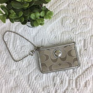 Coach Monogram Tan Card Holder Small Wallet